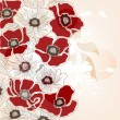 Vintage hand drawn poppies background — Vector de stock