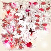 композиция с различными видами орхидей и пространством для текста — Cтоковый вектор