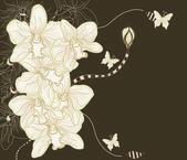 Ručně kreslenou fantasy orchidejí složení — Stock vektor