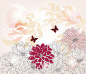 Hand drawn floral background - artistic composition — Stock vektor