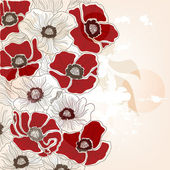 Vintage hand drawn poppies background — Stock Vector