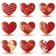 Glossy hearts - Stock Vector