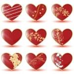 Glossy hearts — Stock Vector