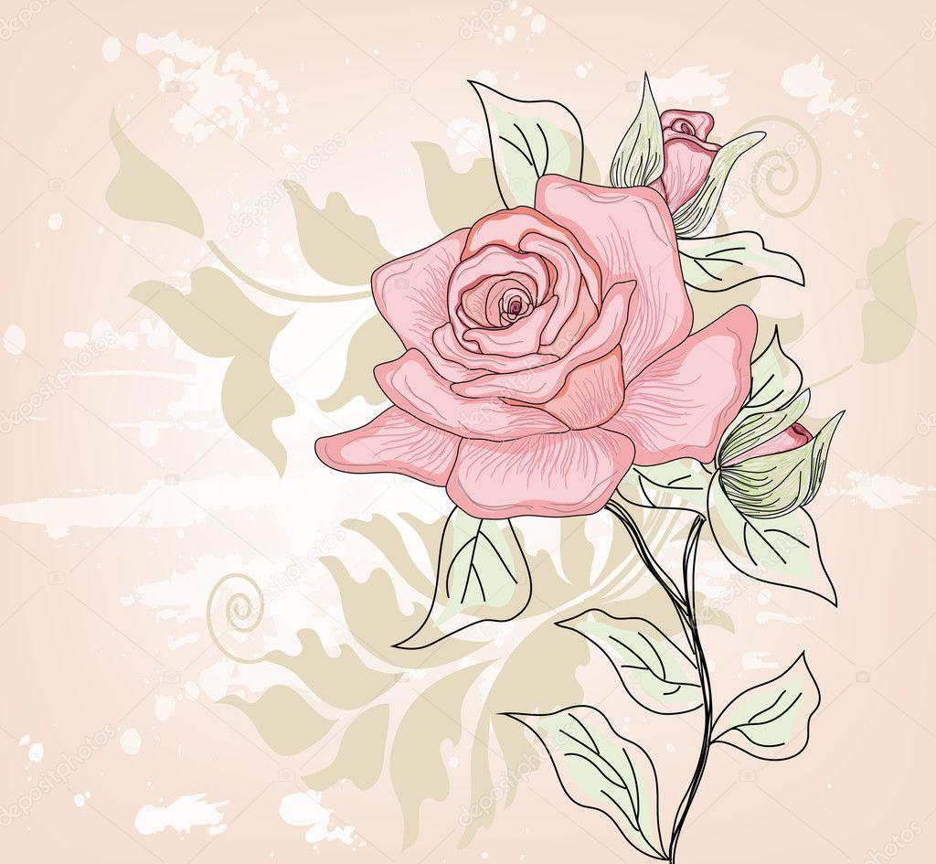 Как нарисовать открытку с розой 51