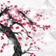 Japanese ispired plum tree and flowers — Stockvectorbeeld