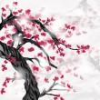 japanska ispired plommonträd och blommor — Stockvektor
