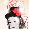 Stock Vector: Romantic portrair of geisha
