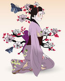 Beautiful geisha in a japanese garden — Stock Vector