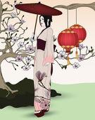 Beautiful geisha walks in an oriental garden — Stock Vector
