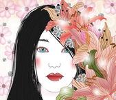 鲜花的美丽黑发女人的肖像 — Stockvektor