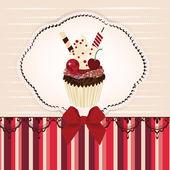Invitation card with delicious cupcake — Stock Vector