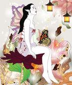 Beautiful fairy in an enchanted garden — Stock Vector
