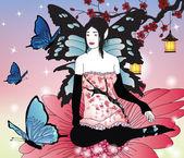 Fairy with butterflies in an enchanted garden — Stock Vector