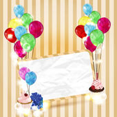 Invitation card with balloons and cupcakes — Stock Vector