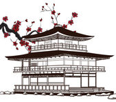 Japanese pagoda sketch — Stockvector