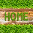 Green grass home word on wood background - Stock Photo
