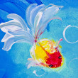 Painting of goldfish in water — Stock Photo