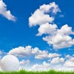 Golf ball on green grass against blue sky — Stock Photo