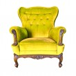 Vintage yellow luxury armchair isolated with clipping path — Stock Photo #8028414
