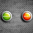 Stock Photo: Approve and reject button on diamond steel texture