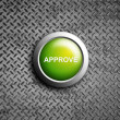 Stock Photo: Approve button on diamond steel texture