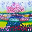Painting of tulip flowers field and tree — Stock Photo