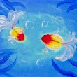 Painting of goldfish in water - Stock Photo