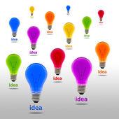 Colorful idea light bulb — Stock Photo