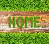 Palabra casa hierba verde sobre fondo de madera — Foto de Stock