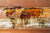 World map in the wood texture — Foto de Stock