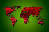 Red wood world map with clipping path — Stock Photo