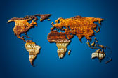 Wood world map with clipping path — Foto de Stock