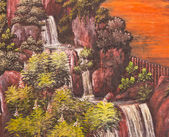 Traditional waterfall painting on temple wall — Stock Photo