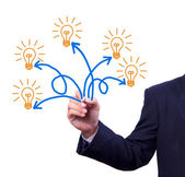 Many idea light bulb writing by hand — Stock Photo