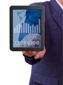 Main pointant vers le mot succès sur tablette tactile — Photo