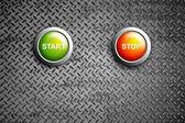 Start and stop buttons on diamond steel texture — Stock Photo
