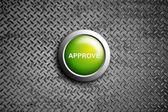 Approve button on diamond steel texture — Stock Photo