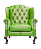 Green luxury armchair isolated with clipping path — Stock Photo