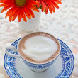 Stock Photo: Hot chocolate and flower