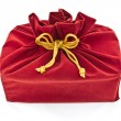 Red fabric gift bag isolated — Stok Fotoğraf #9258167