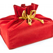 Foto Stock: Red fabric gift bag isolated