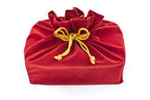 Red fabric gift bag isolated — 图库照片