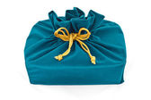 Blue fabric gift bag isolated — Stock Photo