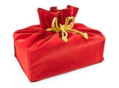Red fabric gift bag isolated — Stock Photo