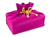 Pink fabric gift bag isolated — 图库照片