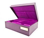 Purple leather box on white background — Stock Photo