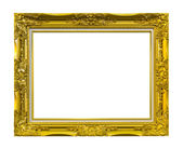 Frame of golden wood isolated with clipping path — ストック写真