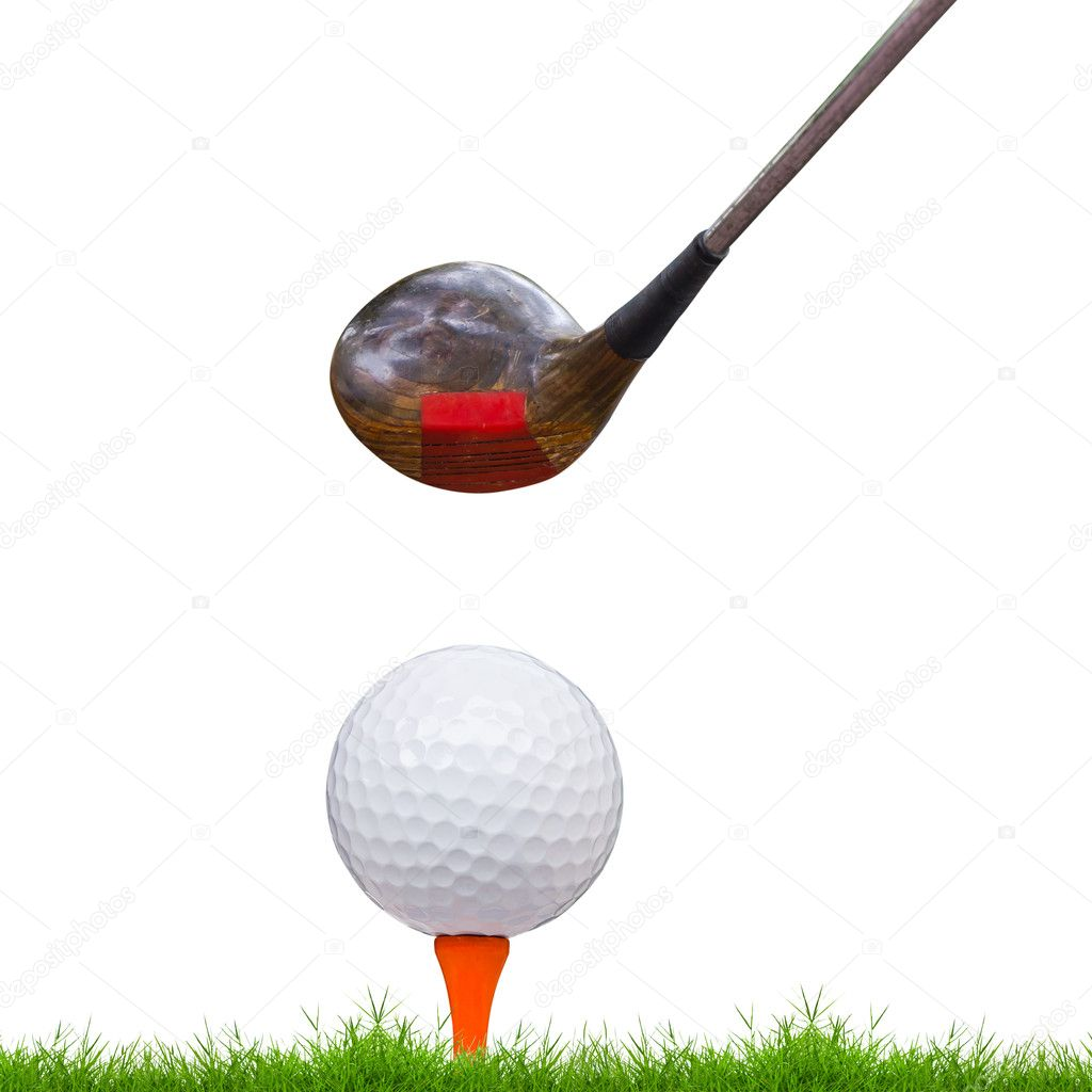 Golf ball and driver on green grass — Stock Photo #9258699
