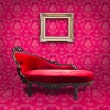 Red luxury sofa and frame in pink room — Stock Photo