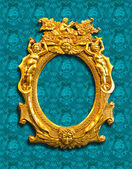 Golden sculpture frame with clipping path — Stock Photo